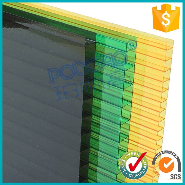 3mm -5mm twin wall UV coated hollow polycarbonate sheet/hollow sun panel for building material
