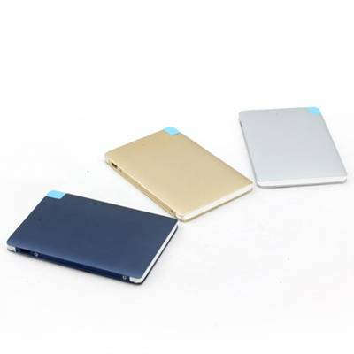 Customized Logo ultra slim credit card 3000 mah power bank build in cable
