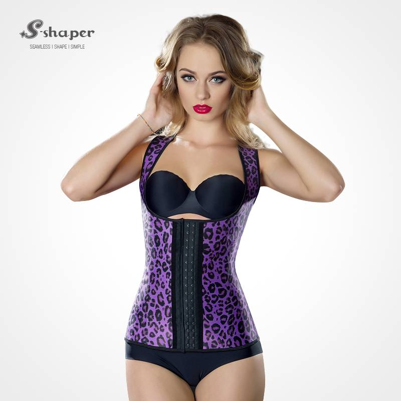 S-SHAPER Leopard Print Latex Waist Trainer Hot Body Shaper Trainer Corsets Slimming Vest