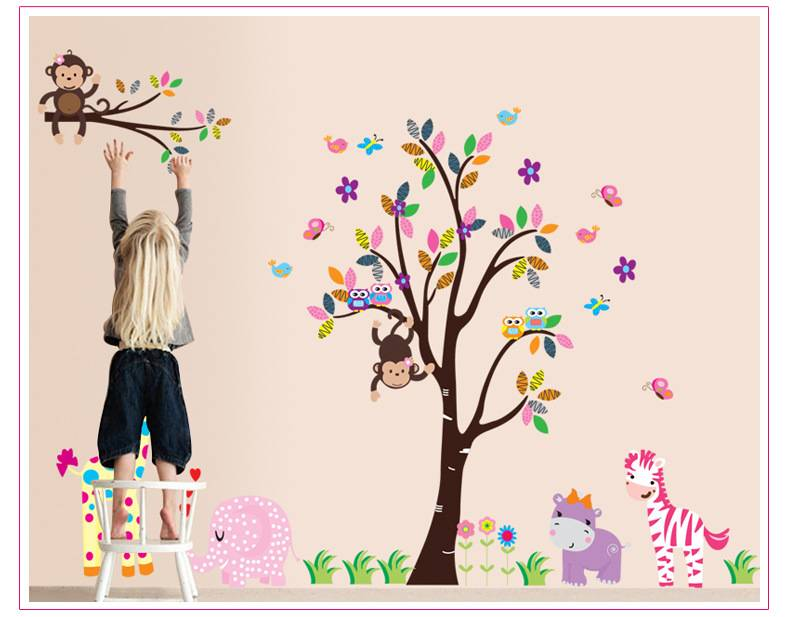 Animals Wall sticker family big tree decal DIY for Kids room decor Size 60x90cm