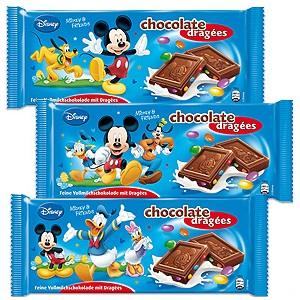 DISNEY Mickey Mouse Chocolate Dragees, 100g, DISNEY Minnie Mouse Dragees Chocolate, 100g, DISNEY Kin
