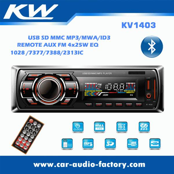 KV1403 1 din Car MP3 player with bluetooth