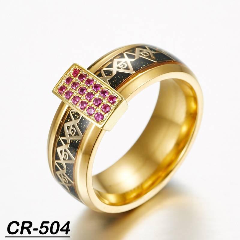 tungsten ring freemason ring gold mason ring with zircon stone