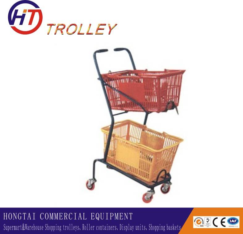 Japanese style metal shopping trolley for hand baskets