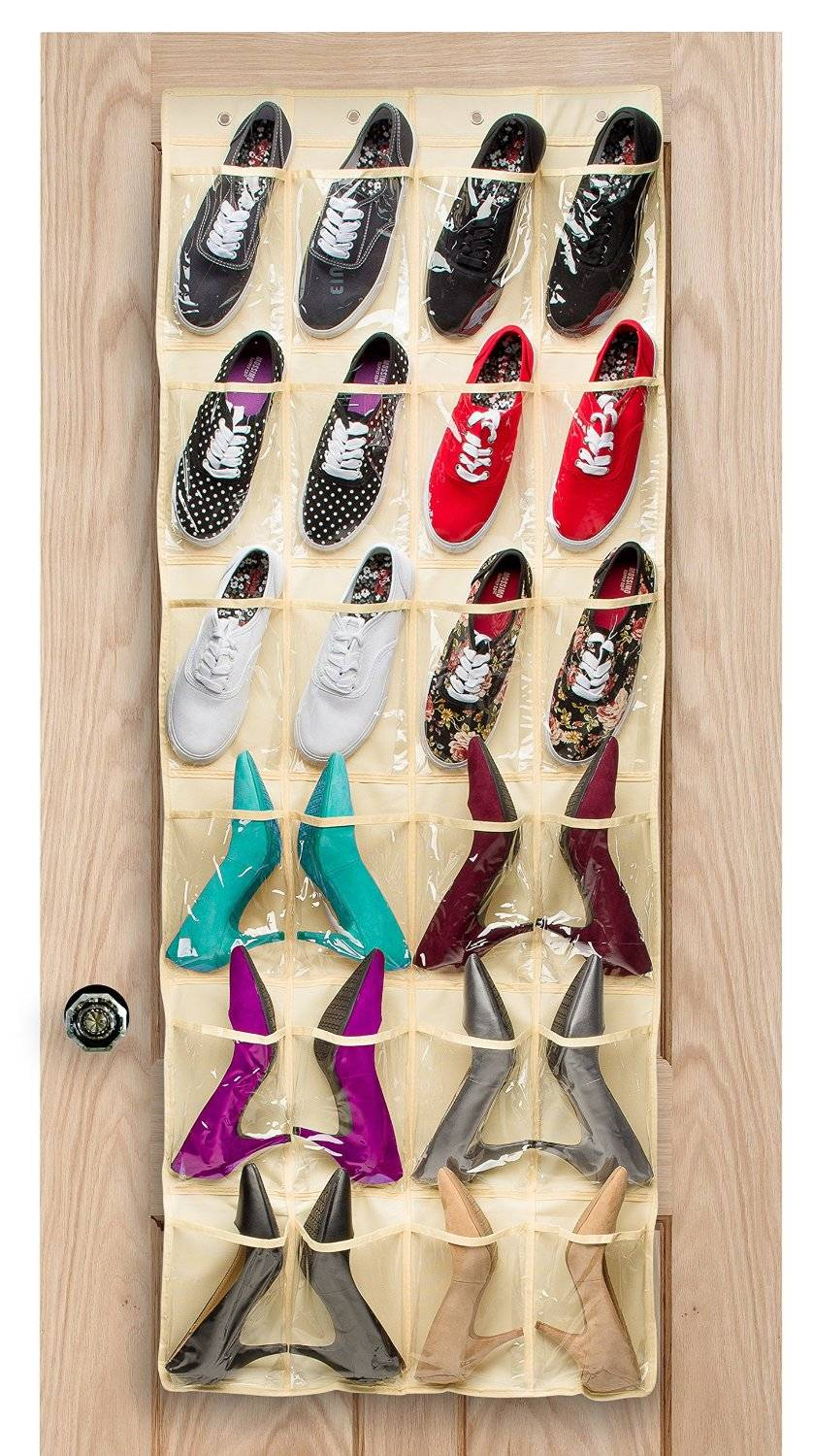 24 Pockets - Crystal Clear Over the Door Hanging Shoe Organizer