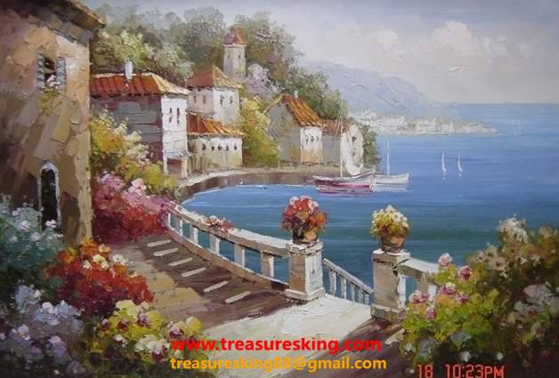 Canvas Oil painting 100%hand painter mediterranean