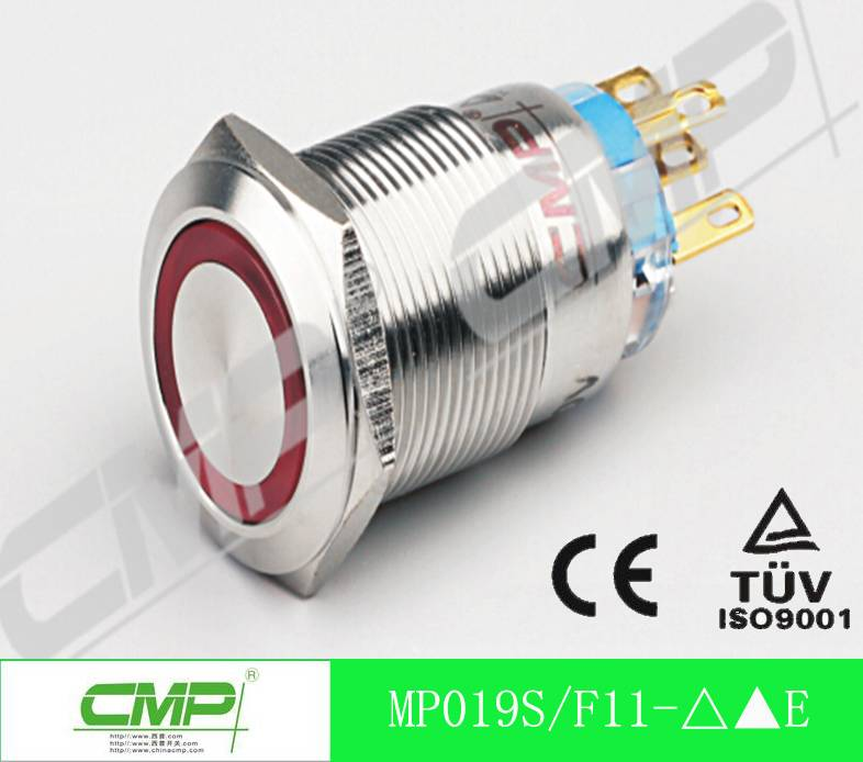 19mm IP67 Waterproof Metal Push Button Switch with/Without LED with Momentary on/Locke