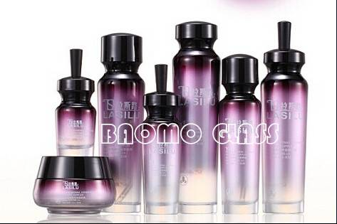 New Luxury purple cream jars and lotion bottle for cosmetic packing