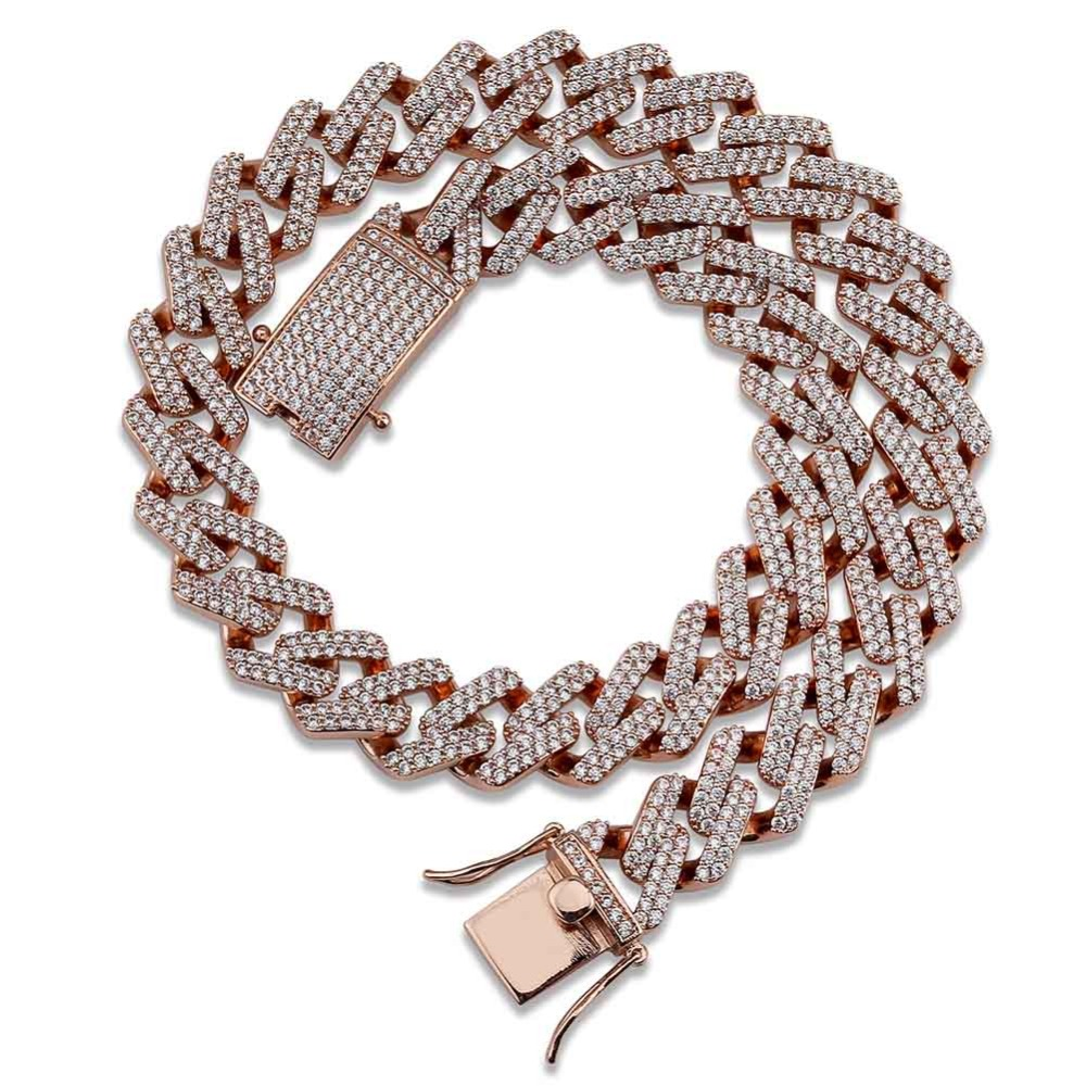 14mm Miami Cuban Chains Necklace For Men Gold Silver Hip-Hop Iced Out Paved Bling CZ Rapper Bracelet
