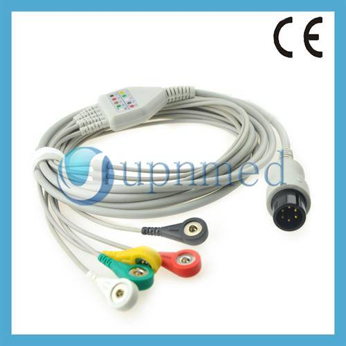 GE PRO1000 direct connect 5 lead snap ECG cable, with 1K resistor