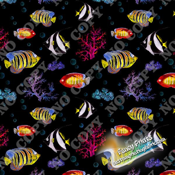 underwater world digital print for cotton lycra fabric