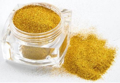 Gold Glitter Powder Hexagonal Square 1/8 to 1/256 Size Available
