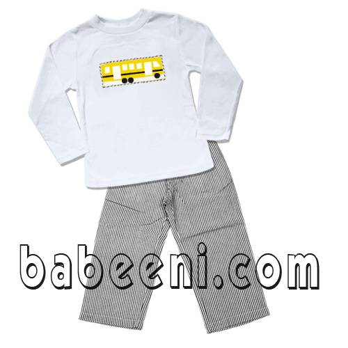 bus smocked boy pants set