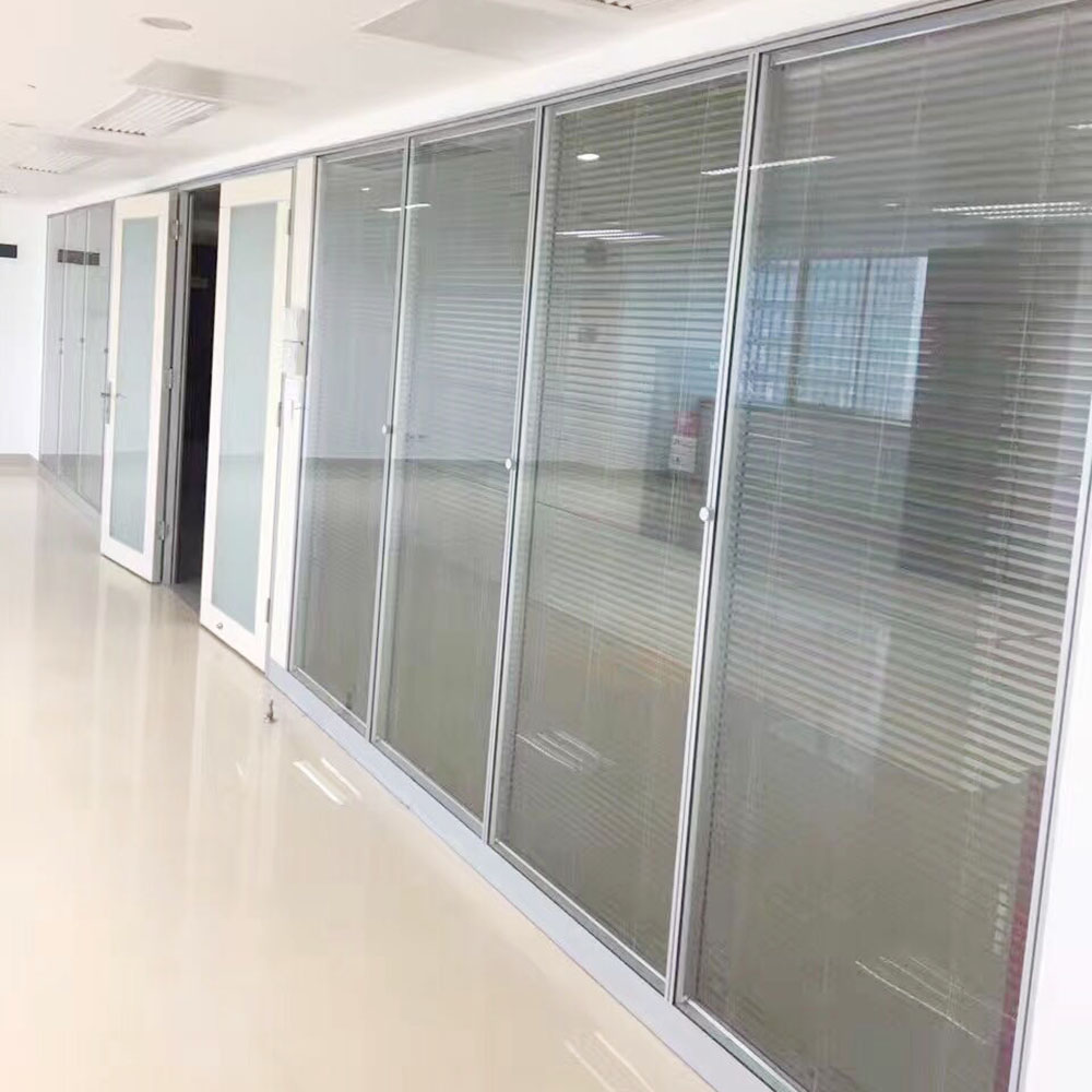 Double tempered glass partitions electric sheets office glass walls