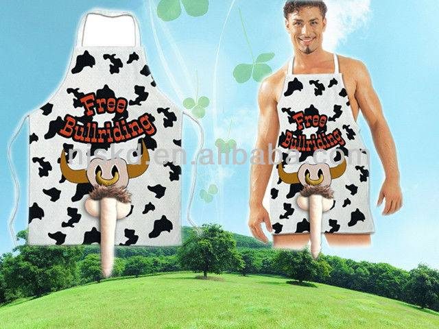 sexy cow printed penis adult apron