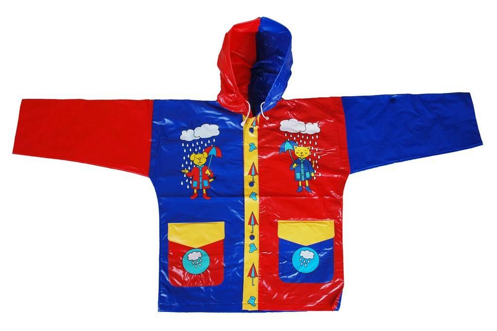 R-1021-1002-2 BLUE AND RED SHINY PVC VINYL KIDS RAIN WEATHERPROOF JACKET