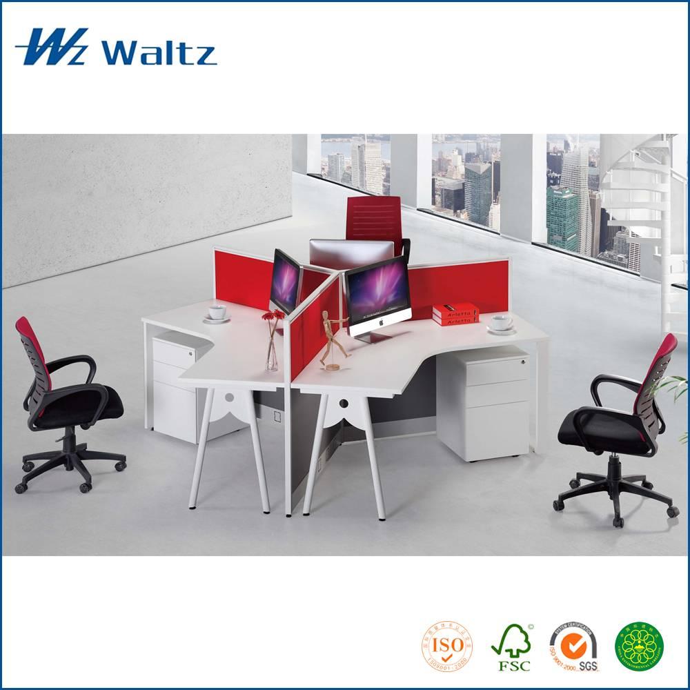 Waltz office furniture MFC/MDF panel office workstation, 3 person workstation
