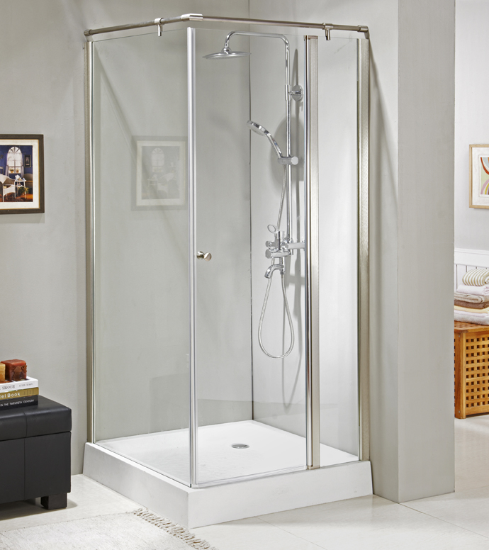 Aluminum axis tempered glass bathroom shower enclosure with S.S. knob and fixed bar