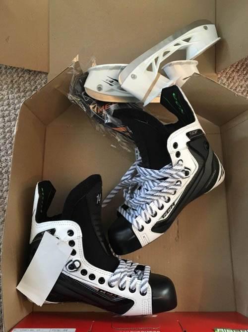 CCM Ribcor 50K White Skates 7 DA Pro Stock Hockey Skates