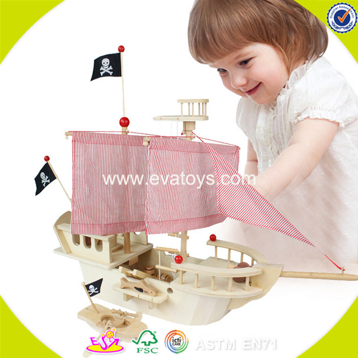 2017 wholesale kids diy wooden pirate toys funny children wooden pirate toys best design wooden pira