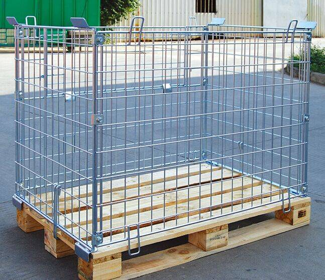 Logistic foldable steel storage roll containers