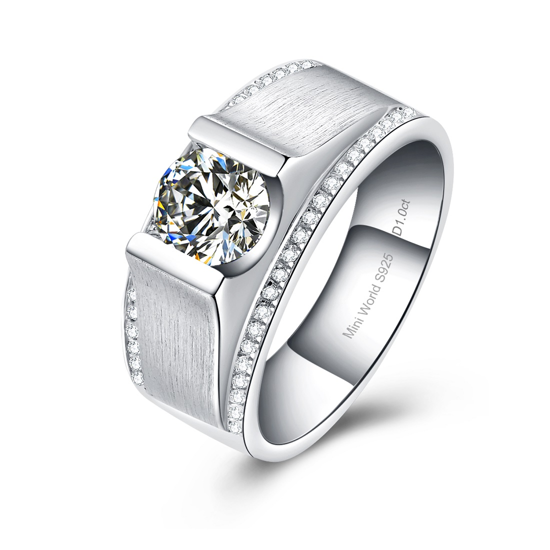 1 carat zircon stone ring for man