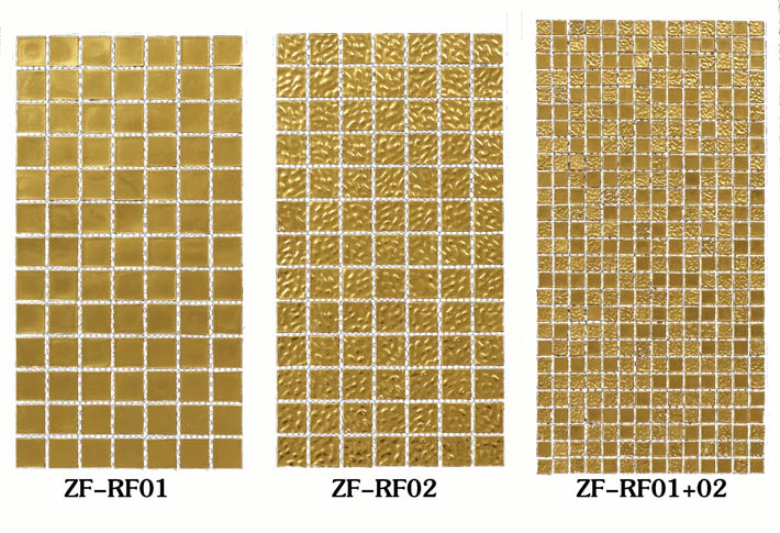ZF-RF 24K surface real gold glass mosaic tiles wall or pool background decorative