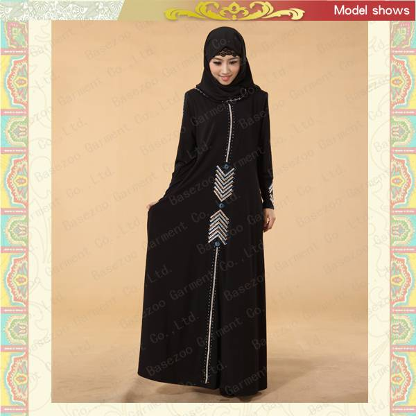 Hot drilled islamic arab black dubai abaya MF19665