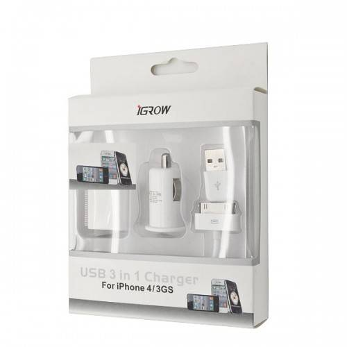 Mini 3 in 1 USB Charger for iPhone 4 / 3GS / 3G, iPod, iPad EU Standard (White)