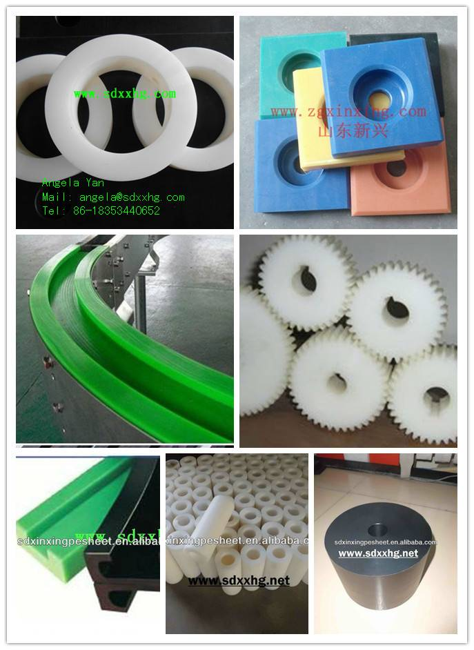 UHMWPE plastic maching parts or components,UHMWPE CNC machined part :Washer and gear and pulley