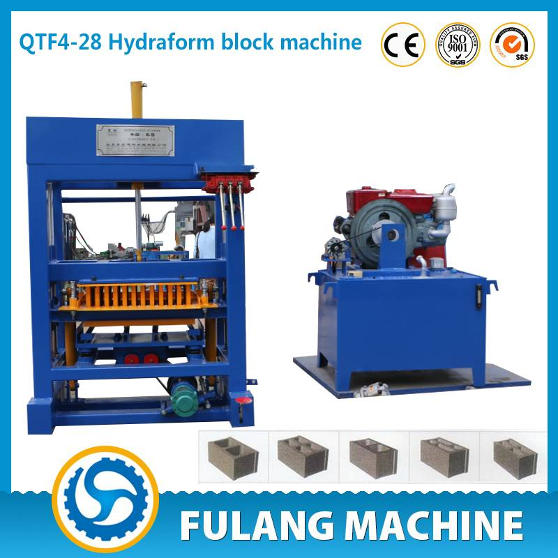 QTF4-28 diesel engine hollow block making machine/machinery