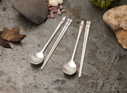 Silver Spoons and Chopsticks Set