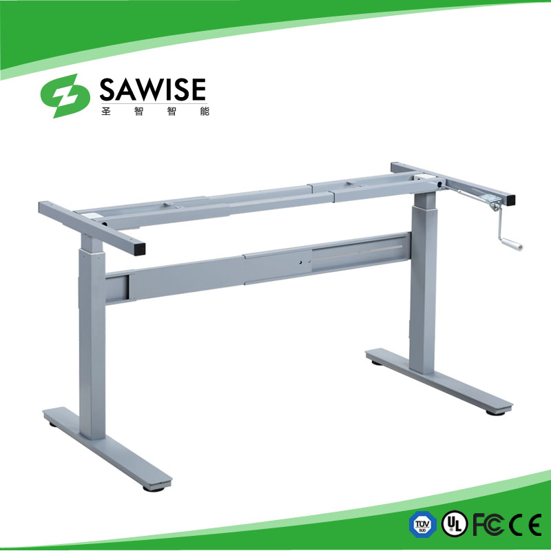 Manual crank height adjustable desk