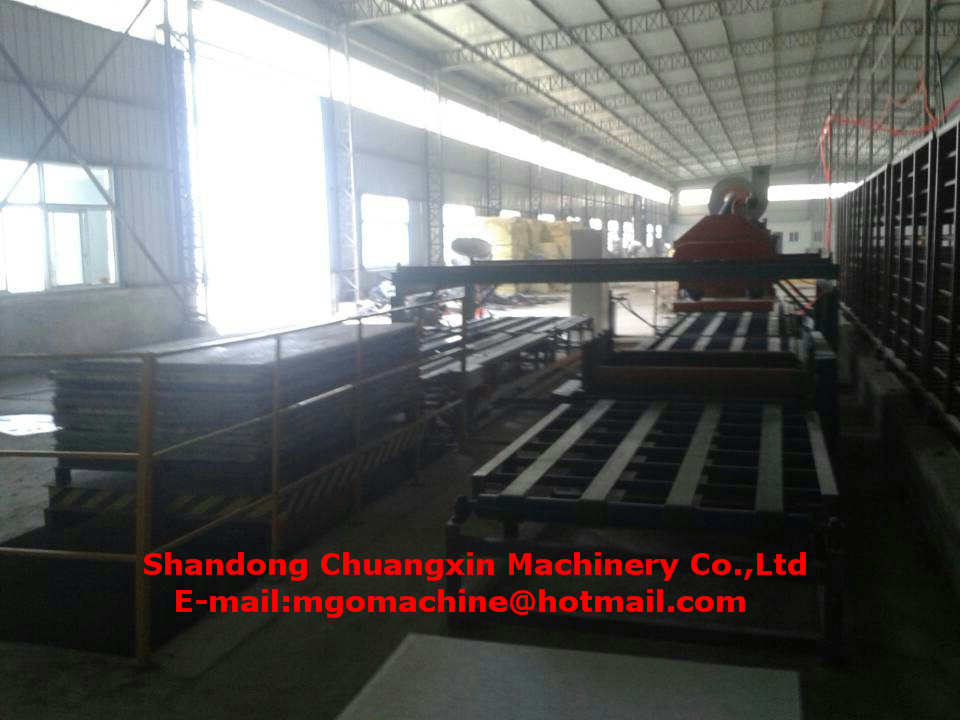 Adjustable thickness mgo sandwich wall panel production line