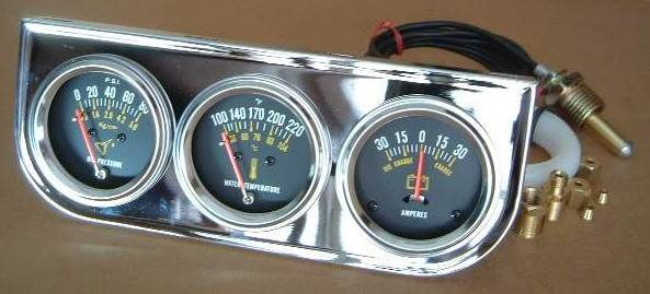 Triple Gauge Kit, oil press/water temp/ammeter 2-1/16""