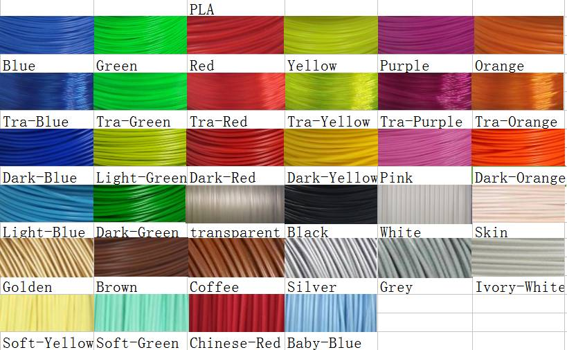 many colors 3D Printing Filament,PLA materials 1.75mm 2.85mm 3.0mm