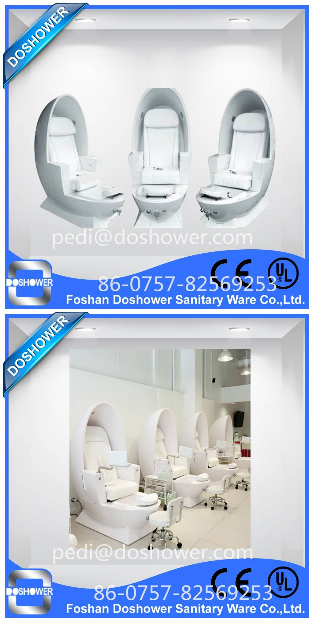 Doshower DS-Egg pedicure chair dimensions of pedicure machine with water spray with glass pedicure b