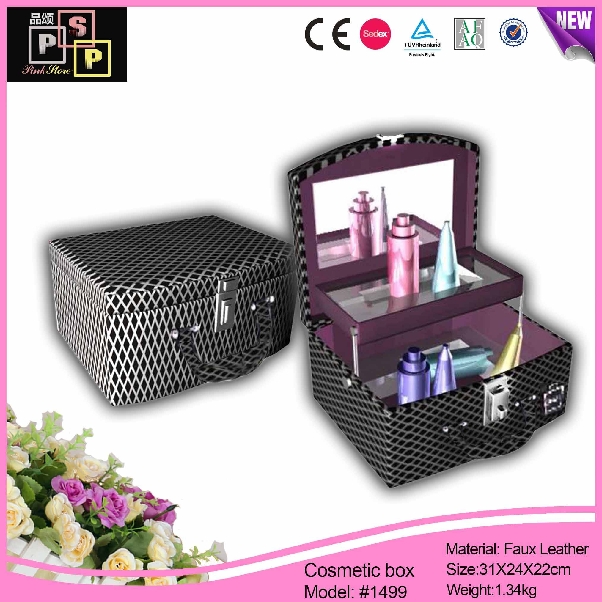 Handled Black Luxury Mirrored Custom Printed Cosmetic Box With Tray