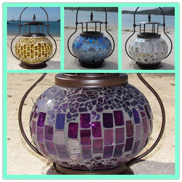Wedding favors candle metal outdoor mosaic glass japanese garden lantern