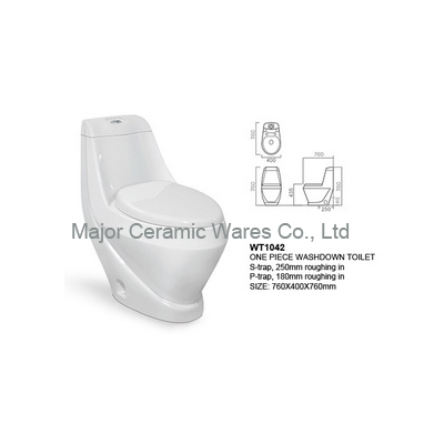 WT1042 ONE PIECE TOILET, WASHDOWN, S-TRAP 250MM, P-TRAP 180MM