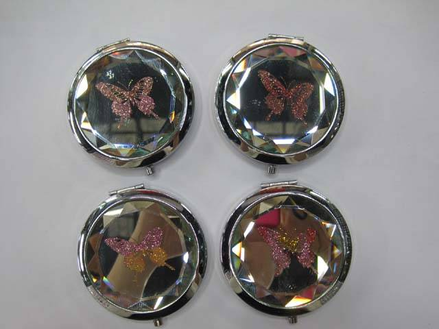 Butterfly Glitter Crystal Makeup Mirror Fashion Pocket Mirrors