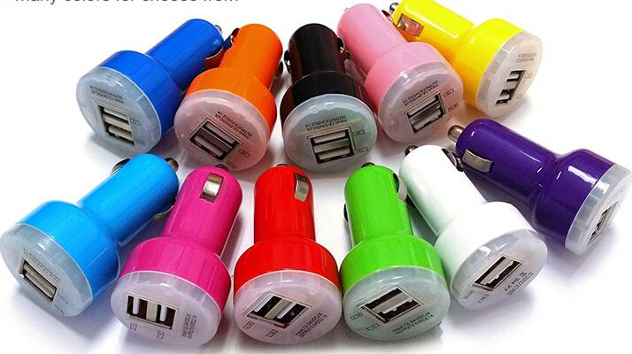 Transparent cover double USB car charger