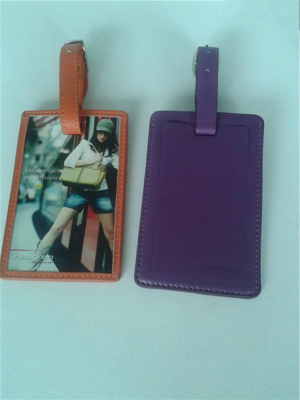 Orange purple cartoon pu luggage tag