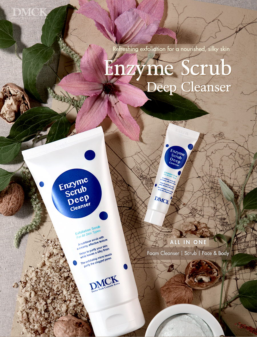 DMCK Enzyme Scrub Deep Cleanser - facial exfoliator with micro particles for blackheads & dead skin