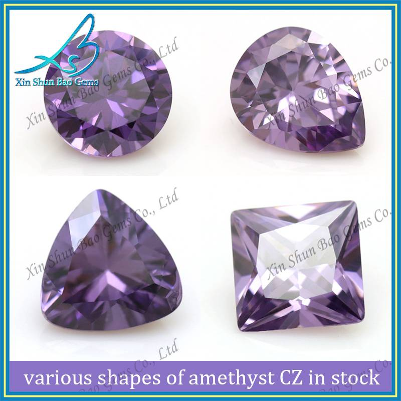 CZ stone various shape lab created amethyst