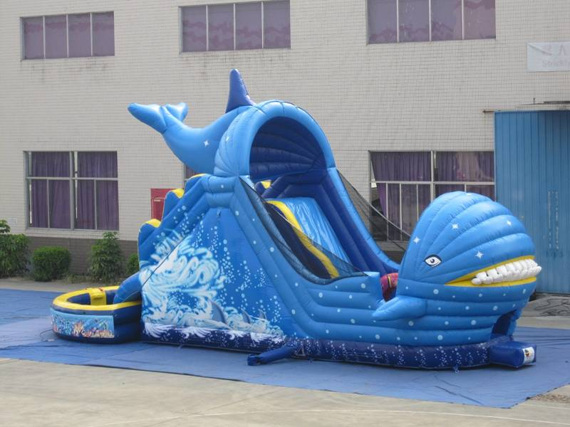 Lanqu shark giant inflatable slide