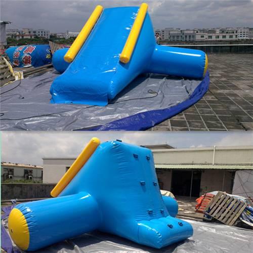 U / V Shape 0.9mm PVC Tarpaulin Inflatable Big Air Slide For Water Yelow / Blue