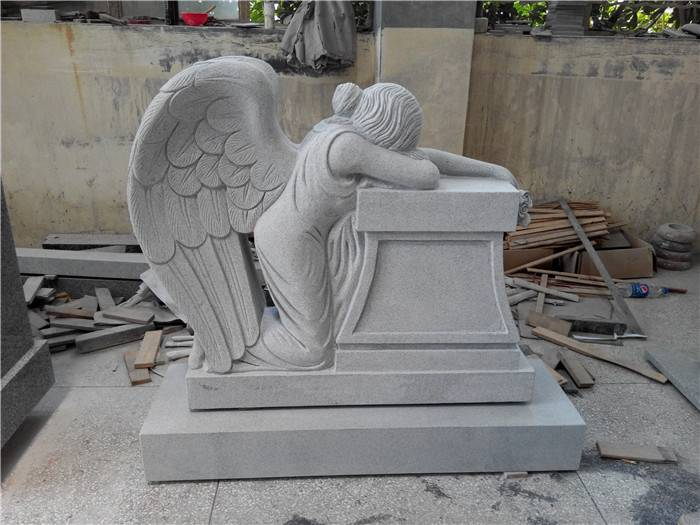Germany Style Marble Upright Tombstone with angel