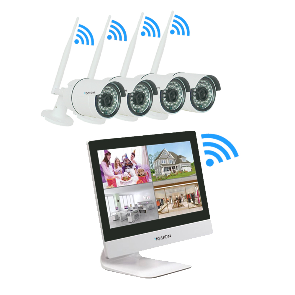 4 channel wireless Security System with 10 inch LCD Monitor