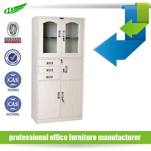 KD steel office furniture glass door file cabinet with safe inside